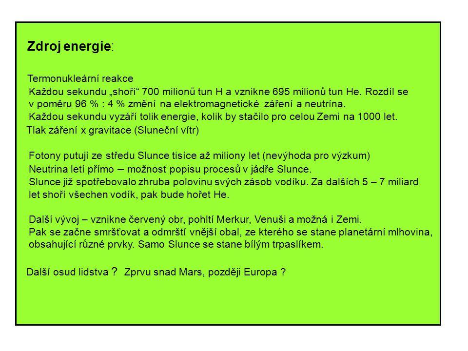 """Zdroj energie: Termonukleární reakce Každou sekundu """"shoří 700 milionů tun H a vznikne 695 milionů tun He."""
