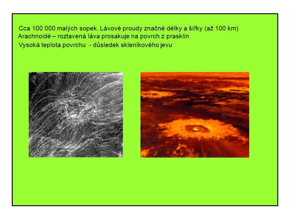 Cca 100 000 malých sopek. Lávové proudy značné délky a šířky (až 100 km) Arachnoidé – roztavená láva prosakuje na povrch z prasklin Vysoká teplota pov