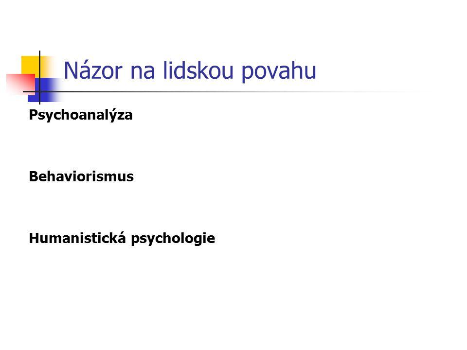 Názor na lidskou povahu Psychoanalýza Behaviorismus Humanistická psychologie