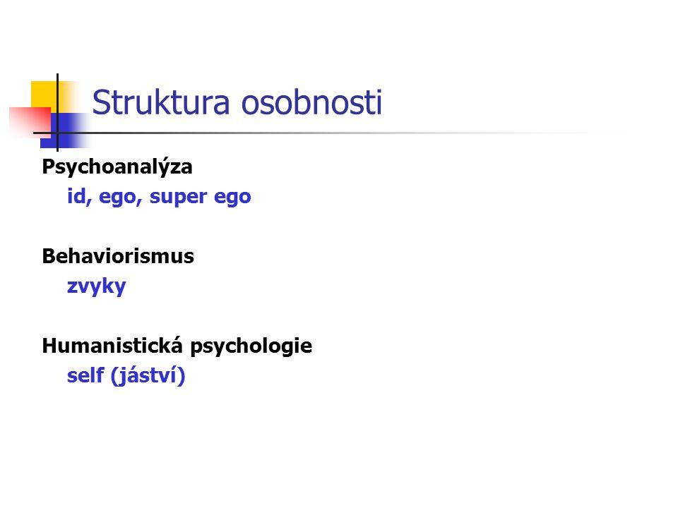 Struktura osobnosti Psychoanalýza id, ego, super ego Behaviorismus zvyky Humanistická psychologie self (jáství)