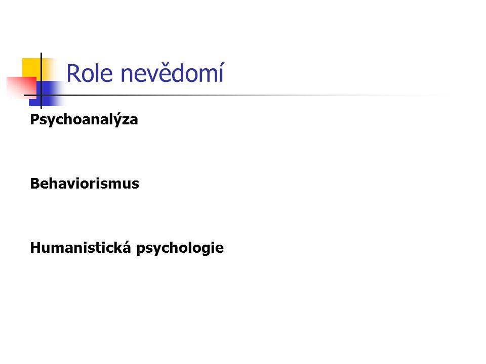 Role nevědomí Psychoanalýza Behaviorismus Humanistická psychologie