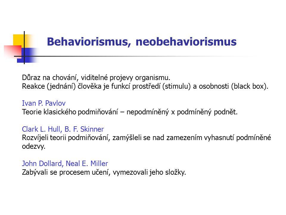 Behaviorismus, neobehaviorismus Důraz na chování, viditelné projevy organismu. Reakce (jednání) člověka je funkcí prostředí (stimulu) a osobnosti (bla