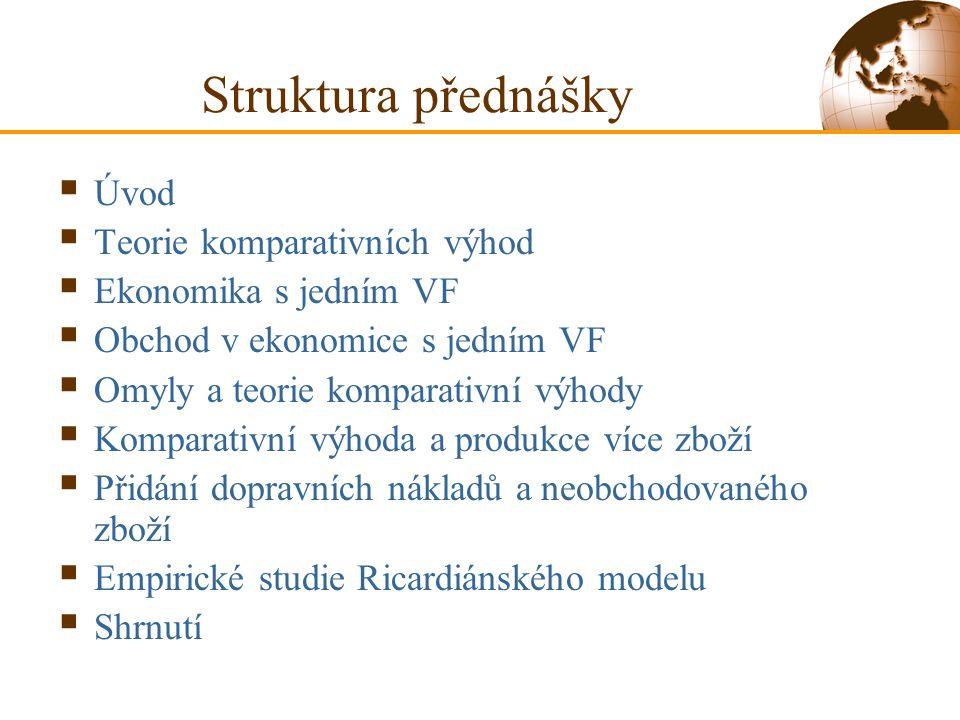 Struktura přednášky  Úvod  Teorie komparativních výhod  Ekonomika s jedním VF  Obchod v ekonomice s jedním VF  Omyly a teorie komparativní výhody