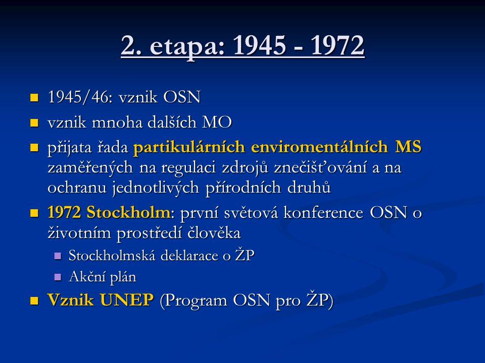 2. etapa: 1945 - 1972 1945/46: vznik OSN 1945/46: vznik OSN vznik mnoha dalších MO vznik mnoha dalších MO přijata řada partikulárních enviromentálních