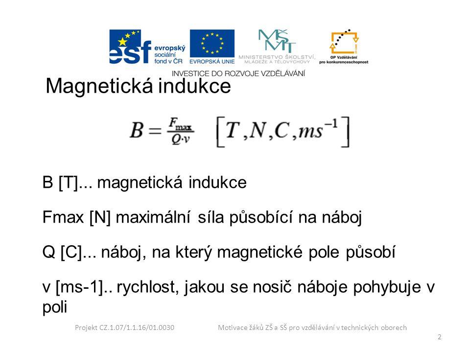 Projekt CZ.1.07/1.1.16/01.0030 Motivace žáků ZŠ a SŠ pro vzdělávání v technických oborech 3 Lorentzova síla F [N]...Lorentzova síla Q [C]...náboj v pohybu v [ms -1 ] rychlost pohybu náboje B [T] magnetická indukce pole