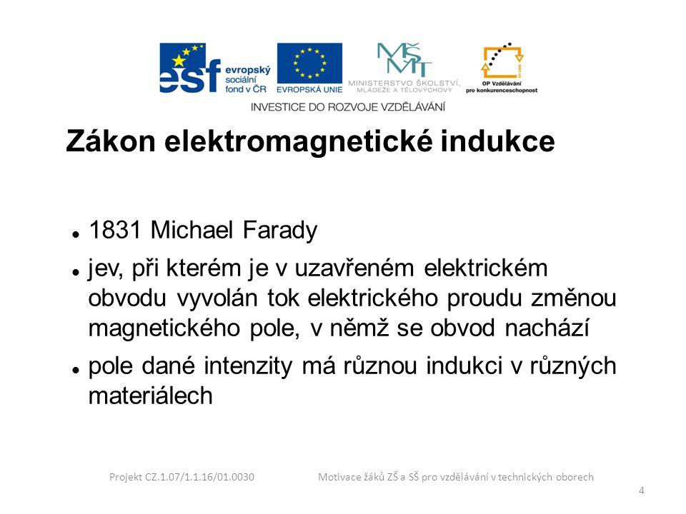 Projekt CZ.1.07/1.1.16/01.0030 Motivace žáků ZŠ a SŠ pro vzdělávání v technických oborech 4 Zákon elektromagnetické indukce 1831 Michael Farady jev, p