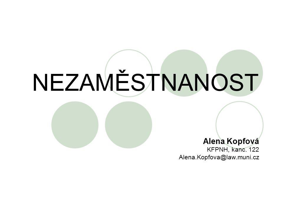 NEZAMĚSTNANOST Alena Kopfová KFPNH, kanc. 122 Alena.Kopfova@law.muni.cz