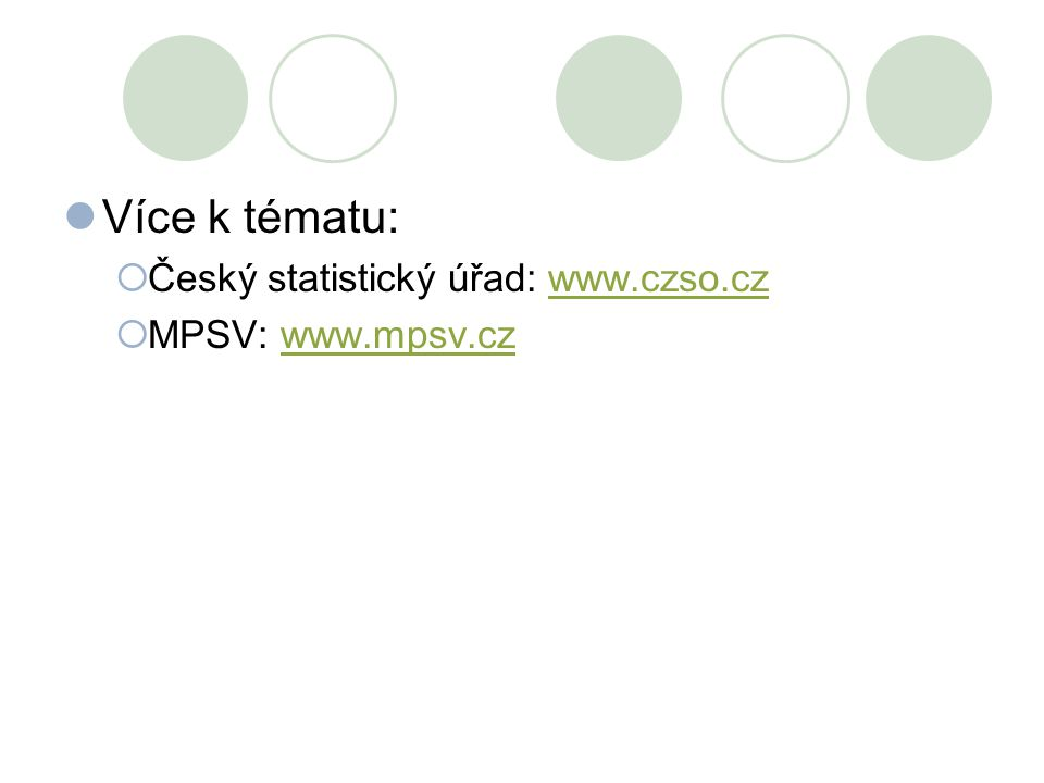 Více k tématu:  Český statistický úřad: www.czso.czwww.czso.cz  MPSV: www.mpsv.czwww.mpsv.cz