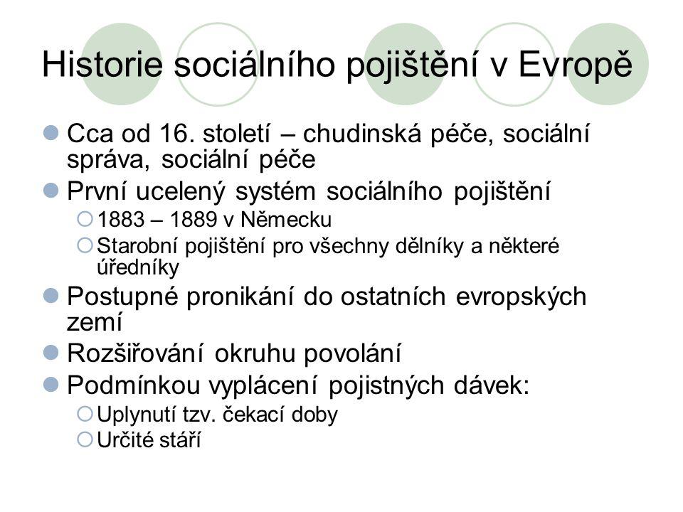 Historie sociálního pojištění v Evropě Cca od 16. století – chudinská péče, sociální správa, sociální péče První ucelený systém sociálního pojištění 