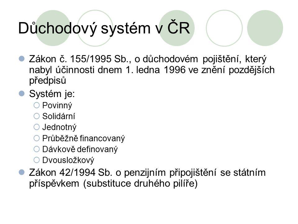 Důchodový systém v ČR Zákon č. 155/1995 Sb., o důchodovém pojištění, který nabyl účinnosti dnem 1. ledna 1996 ve znění pozdějších předpisů Systém je: