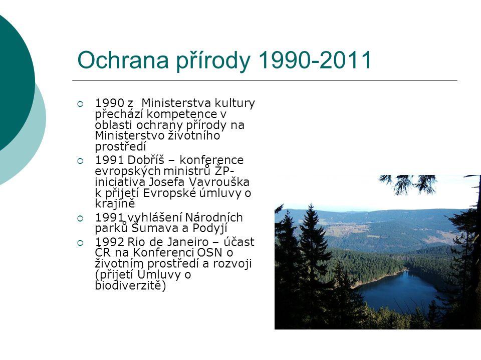 Ochrana přírody 1990-2011  1990 z Ministerstva kultury přechází kompetence v oblasti ochrany přírody na Ministerstvo životního prostředí  1991 Dobří