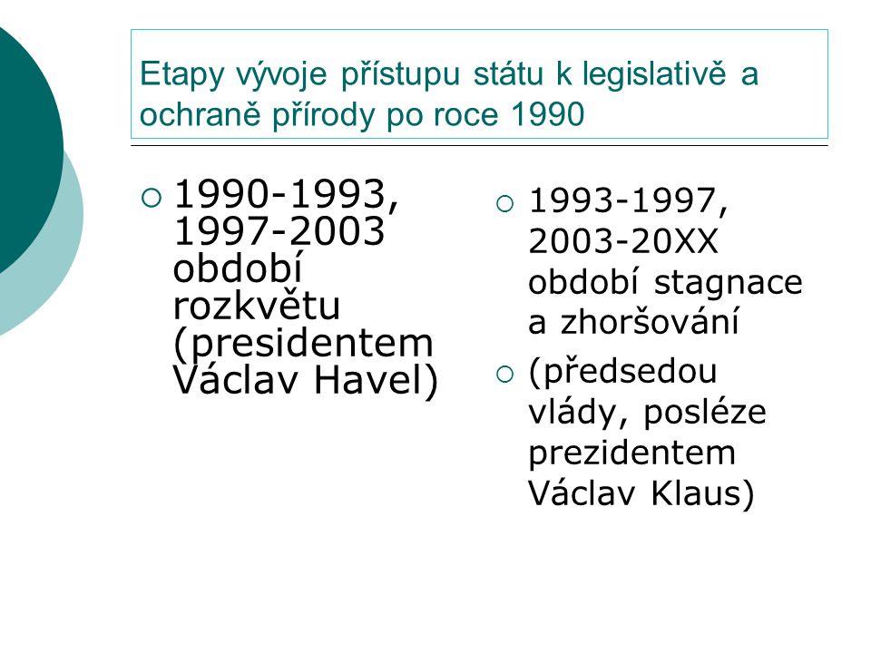 Etapy vývoje přístupu státu k legislativě a ochraně přírody po roce 1990  1990-1993, 1997-2003 období rozkvětu (presidentem Václav Havel)  1993-1997