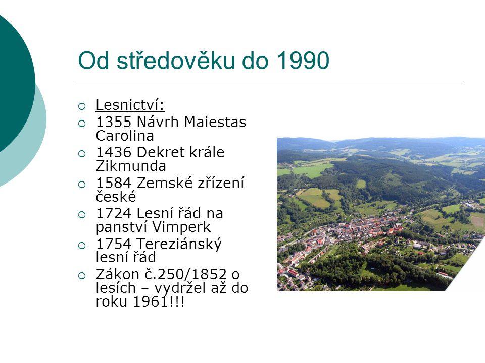 Od středověku do 1990  Lesnictví:  1355 Návrh Maiestas Carolina  1436 Dekret krále Zikmunda  1584 Zemské zřízení české  1724 Lesní řád na panství