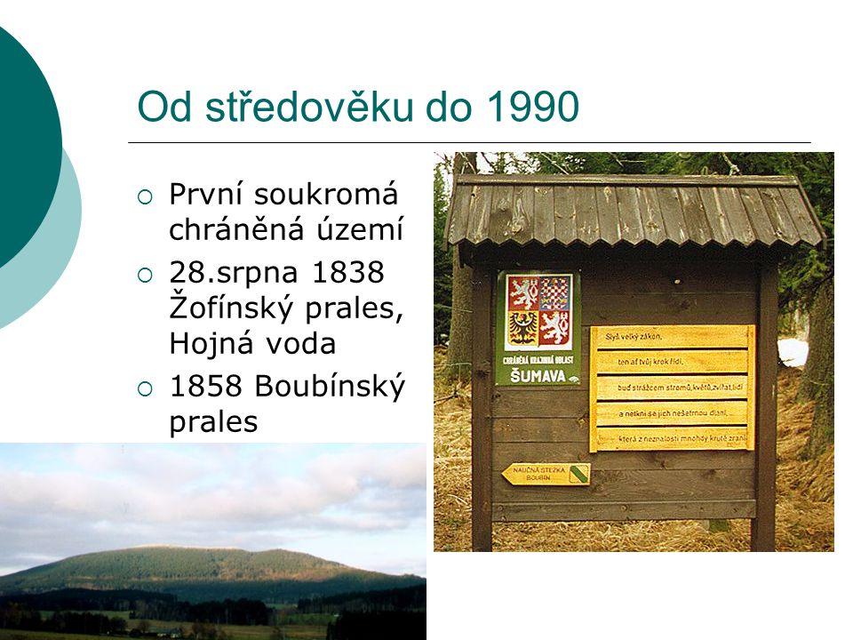 Ochrana přírody 1990-2012  Legislativa:1990-1994 ČR přijala většinu mezinárodních globálních či evropských úmluv týkajících se ochrany biodiverzity  1992:  Zákon č.114 o ochraně přírody a krajiny  Zákon č.17 o životním prostředí  Zákon č.246 na ochranu zvířat proti týrání  Zákon č.244 o posuzování vlivů na životní prostředí