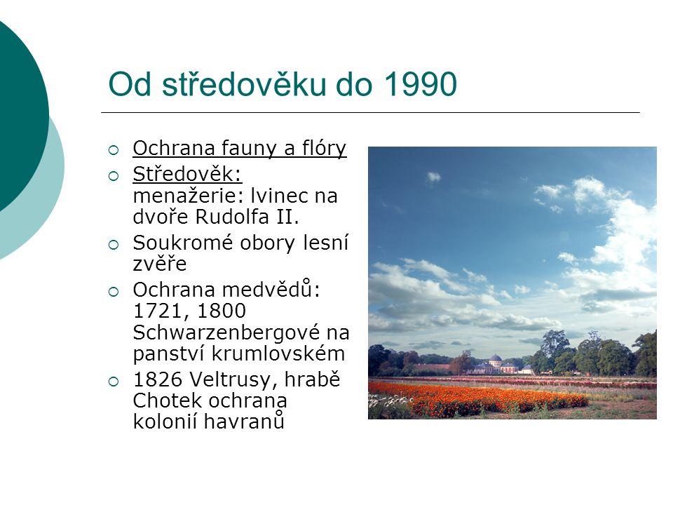 """Od středověku do 1990  """"Ochrana přírodních památek  1819 Alexander von Humboldt  1904 Hugo Conwentz"""