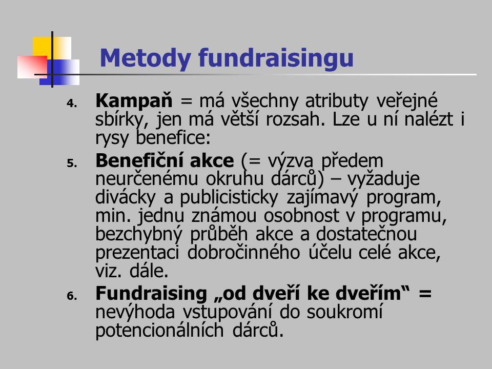 Metody fundraisingu 4. Kampaň = má všechny atributy veřejné sbírky, jen má větší rozsah. Lze u ní nalézt i rysy benefice: 5. Benefiční akce (= výzva p