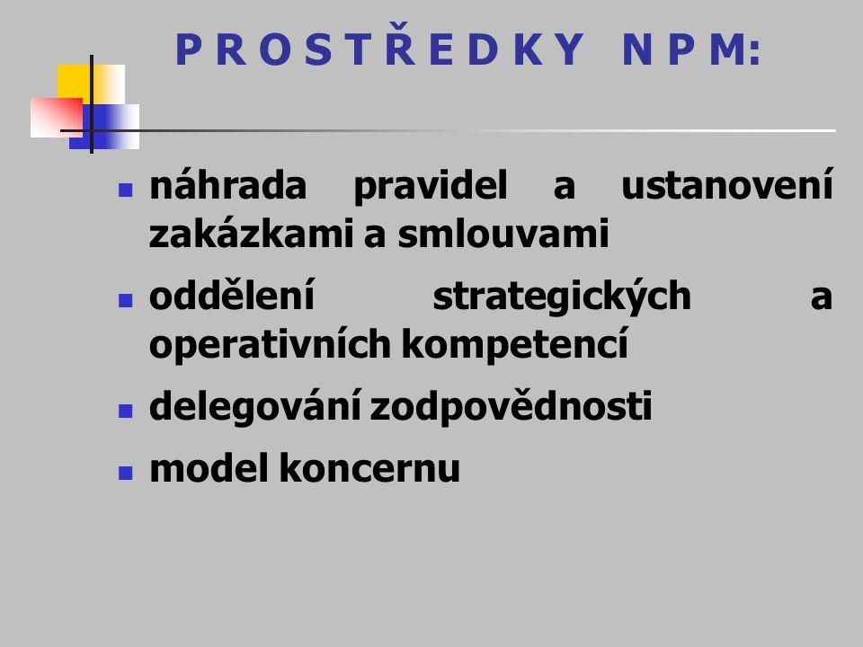 P R O S T Ř E D K Y N P M: náhrada pravidel a ustanovení zakázkami a smlouvami oddělení strategických a operativních kompetencí delegování zodpovědnos