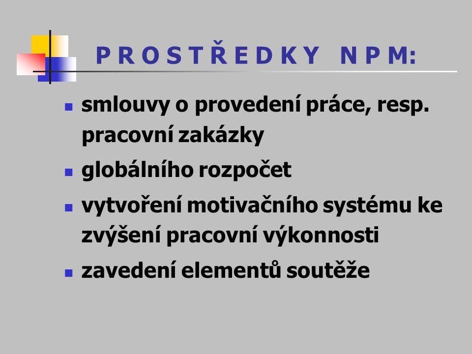 P R O S T Ř E D K Y N P M: smlouvy o provedení práce, resp. pracovní zakázky globálního rozpočet vytvoření motivačního systému ke zvýšení pracovní výk