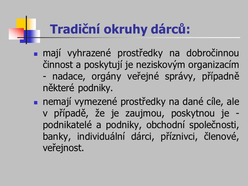 Tradiční okruhy dárců: mají vyhrazené prostředky na dobročinnou činnost a poskytují je neziskovým organizacím - nadace, orgány veřejné správy, případn