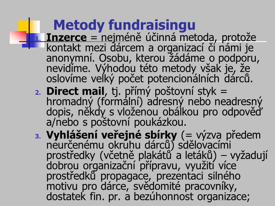 Metody fundraisingu 1. Inzerce = nejméně účinná metoda, protože kontakt mezi dárcem a organizací či námi je anonymní. Osobu, kterou žádáme o podporu,