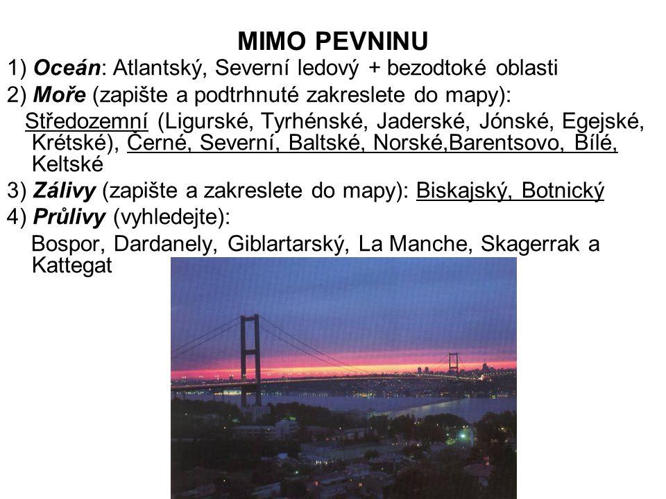 NA PEVNINĚ 1) Řeky (doplňte do závorky zkratkou názvy států, kterými protékají řeky a podtržené zakreslete do mapy): a) Atlantský oceán a jeho moře: Tajo, Duero, Garonna, Loira, Seina, Temže, Rýn, Labe b) Středozemní moře: Ebro, Rhona, Pád c) Černé moře: Dunaj, Dněstr, Dněpr d) Kaspické moře: Volha, Ural 2) Jezera (převážně ledovcového původu): Ladožské, Oněžské, Vanern, Finská jezerní plošina 3) Ledovce: horské (Alpy, Pyreneje), pevninské (Island, Špicberky)