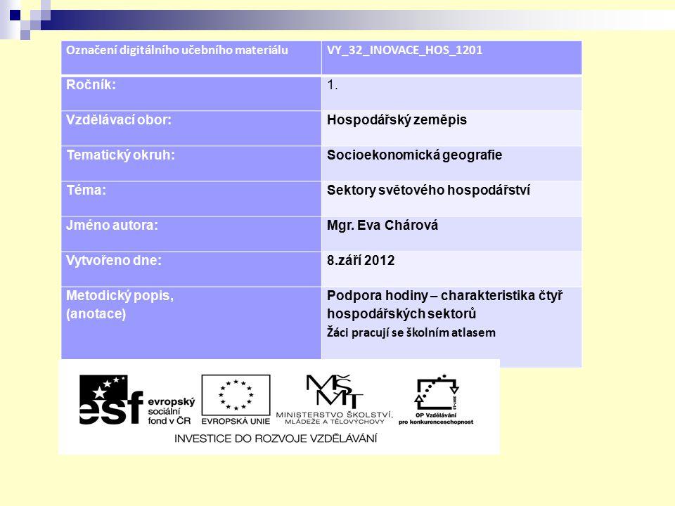 Označení digitálního učebního materiáluVY_32_INOVACE_HOS_1201 Ročník:1. Vzdělávací obor:Hospodářský zeměpis Tematický okruh:Socioekonomická geografie