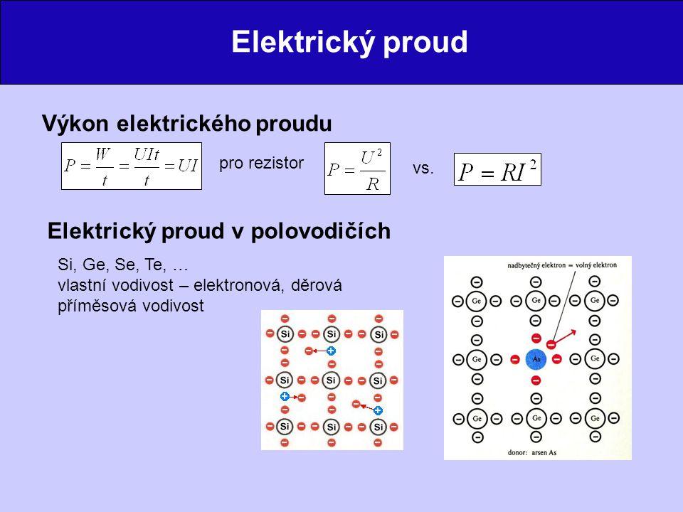 Elektrický proud Elektrický proud v kapalinách nositelé náboje – ionty elektrolýza Elektrický proud v plynech a ve vakuu vzduch – izolant (pokud není ionizován) ionizace – dodání energie – elektron + kation Obloukový výboj min.