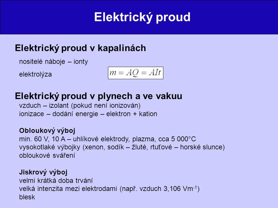 Elektrický proud Doutnavý výboj ve zředěném plynu větší střední volná dráha elektronů a iontů – stačí menší napětí katodové záření – mechanické účinky