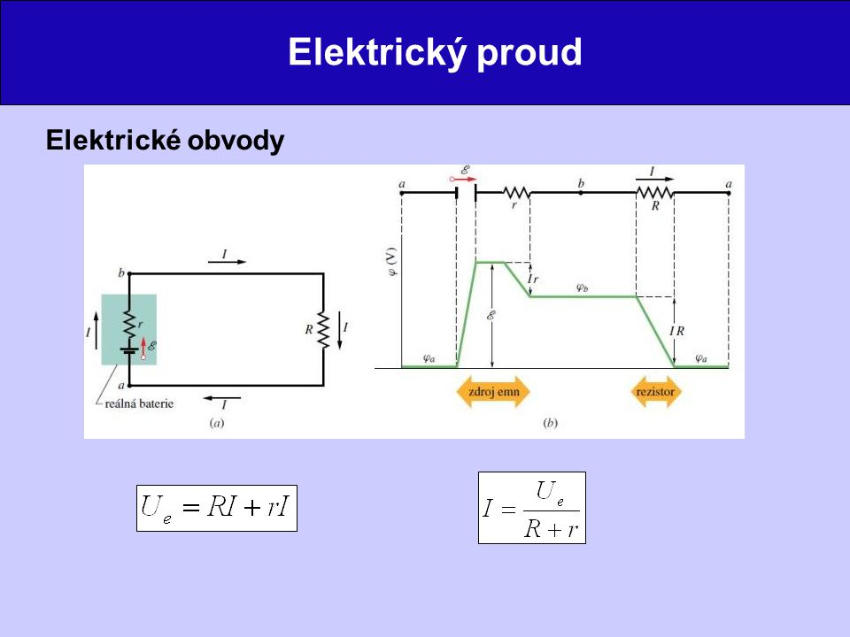 Elektrický proud Spojování rezistorů sériově – všemi rezistory protéká stejný proud paralelně – na všech rezistorech je stejné napětí Obvody s více smyčkami Kirchhoffovy zákony