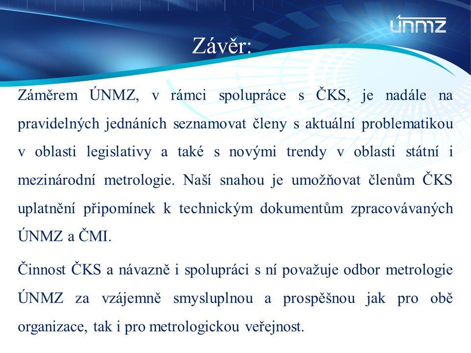 Závěr: Záměrem ÚNMZ, v rámci spolupráce s ČKS, je nadále na pravidelných jednáních seznamovat členy s aktuální problematikou v oblasti legislativy a t