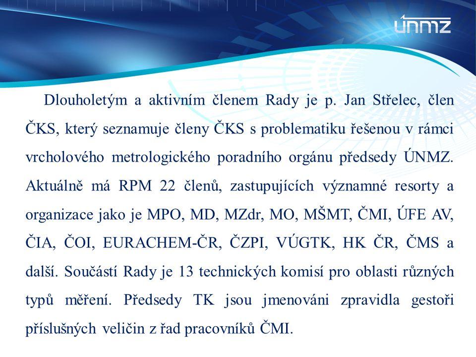 Dlouholetým a aktivním členem Rady je p. Jan Střelec, člen ČKS, který seznamuje členy ČKS s problematiku řešenou v rámci vrcholového metrologického po