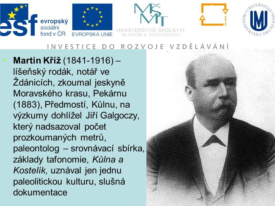  Martin Kříž (1841-1916) – líšeňský rodák, notář ve Ždánicích, zkoumal jeskyně Moravského krasu, Pekárnu (1883), Předmostí, Kůlnu, na výzkumy dohlíže