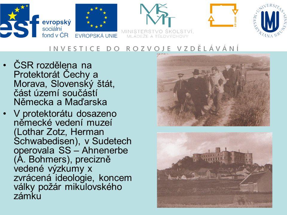 ČSR rozdělena na Protektorát Čechy a Morava, Slovenský štát, část území součástí Německa a Maďarska V protektorátu dosazeno německé vedení muzeí (Loth