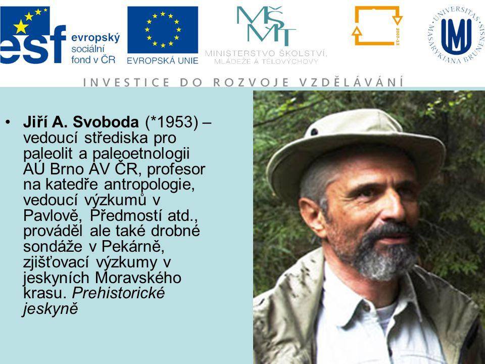 Jiří A. Svoboda (*1953) – vedoucí střediska pro paleolit a paleoetnologii AÚ Brno AV ČR, profesor na katedře antropologie, vedoucí výzkumů v Pavlově,