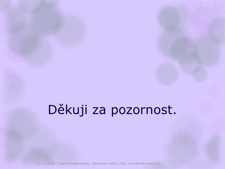 Děkuji za pozornost. ZA, 1. ročník / Nepřechodné nekovy, Sloučeniny uhlíku / Mgr. Veronika Novosadová