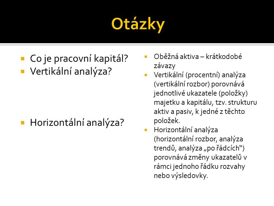  Co je pracovní kapitál?  Vertikální analýza?  Horizontální analýza?  Oběžná aktiva – krátkodobé závazy  Vertikální (procentní) analýza (vertikál