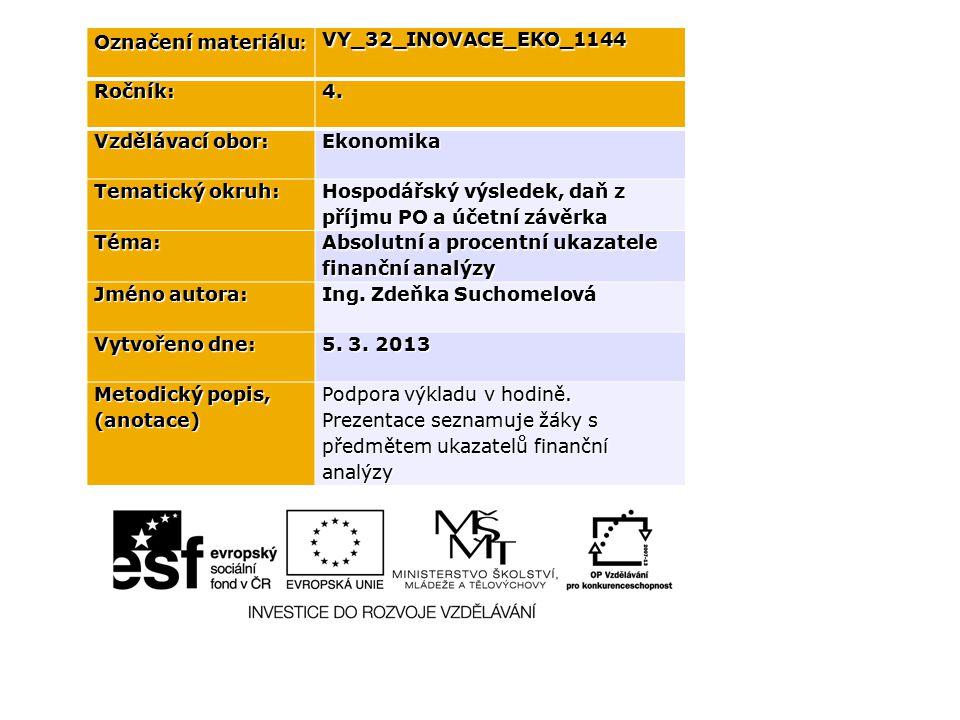 Označení materiálu : VY_32_INOVACE_EKO_1144Ročník:4. Vzdělávací obor: Ekonomika Tematický okruh: Hospodářský výsledek, daň z příjmu PO a účetní závěrk