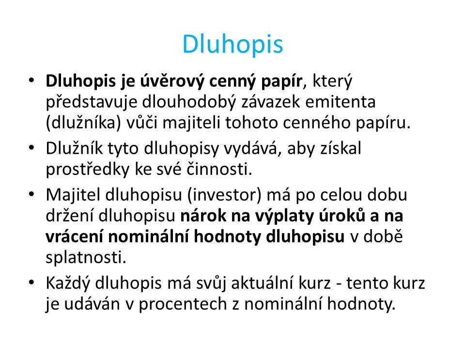 Dluhopis Dluhopis je úvěrový cenný papír, který představuje dlouhodobý závazek emitenta (dlužníka) vůči majiteli tohoto cenného papíru.