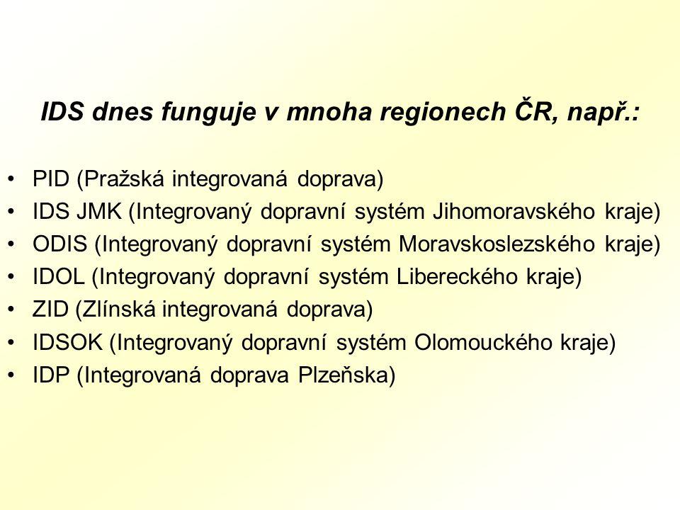 IDS dnes funguje v mnoha regionech ČR, např.: PID (Pražská integrovaná doprava) IDS JMK (Integrovaný dopravní systém Jihomoravského kraje) ODIS (Integrovaný dopravní systém Moravskoslezského kraje) IDOL (Integrovaný dopravní systém Libereckého kraje) ZID (Zlínská integrovaná doprava) IDSOK (Integrovaný dopravní systém Olomouckého kraje) IDP (Integrovaná doprava Plzeňska)