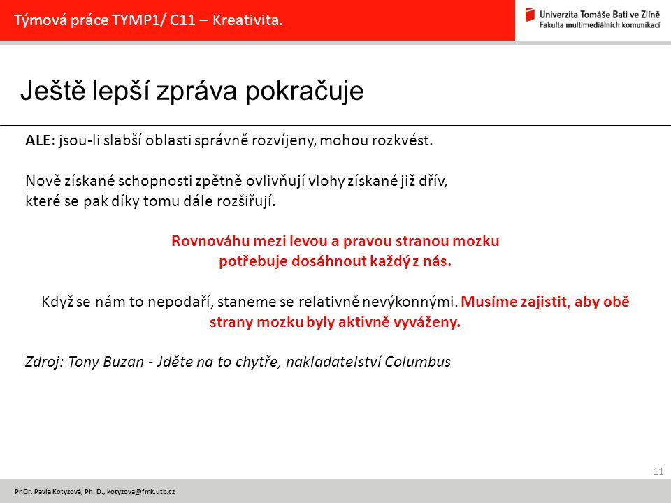 Ještě lepší zpráva pokračuje 11 PhDr.Pavla Kotyzová, Ph.