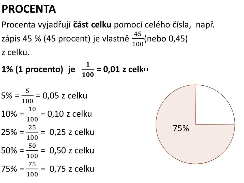 PROCENTA 25% 50% 75%