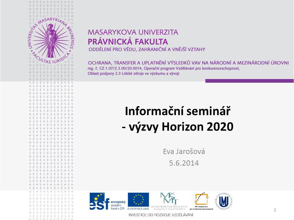 1 Informační seminář - výzvy Horizon 2020 Eva Jarošová 5.6.2014