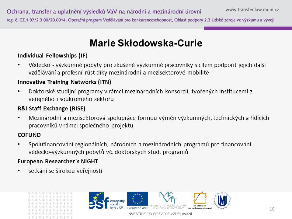 Marie Skłodowska-Curie Individual Fellowships (IF) Vědecko - výzkumné pobyty pro zkušené výzkumné pracovníky s cílem podpořit jejich další vzdělávání a profesní růst díky mezinárodní a mezisektorové mobilitě Innovative Training Networks (ITN) Doktorské studijní programy v rámci mezinárodních konsorcií, tvořených institucemi z veřejného i soukromého sektoru R&I Staff Exchange (RISE) Mezinárodní a mezisektorová spolupráce formou výměn výzkumných, technických a řídících pracovníků v rámci společného projektu COFUND Spolufinancování regionálních, národních a mezinárodních programů pro financování vědecko-výzkumných pobytů vč.