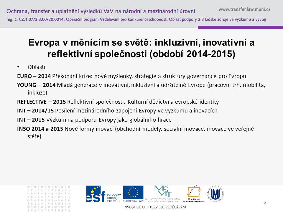 6 Evropa v měnícím se světě: inkluzivní, inovativní a reflektivní společnosti (období 2014-2015) Oblasti EURO – 2014 Překonání krize: nové myšlenky, strategie a struktury governance pro Evropu YOUNG – 2014 Mladá generace v inovativní, inkluzívní a udržitelné Evropě (pracovní trh, mobilita, inkluze) REFLECTIVE – 2015 Reflektivní společnosti: Kulturní dědictví a evropské identity INT – 2014/15 Posílení mezinárodního zapojení Evropy ve výzkumu a inovacích INT – 2015 Výzkum na podporu Evropy jako globálního hráče INSO 2014 a 2015 Nové formy inovací (obchodní modely, sociální inovace, inovace ve veřejné sféře)