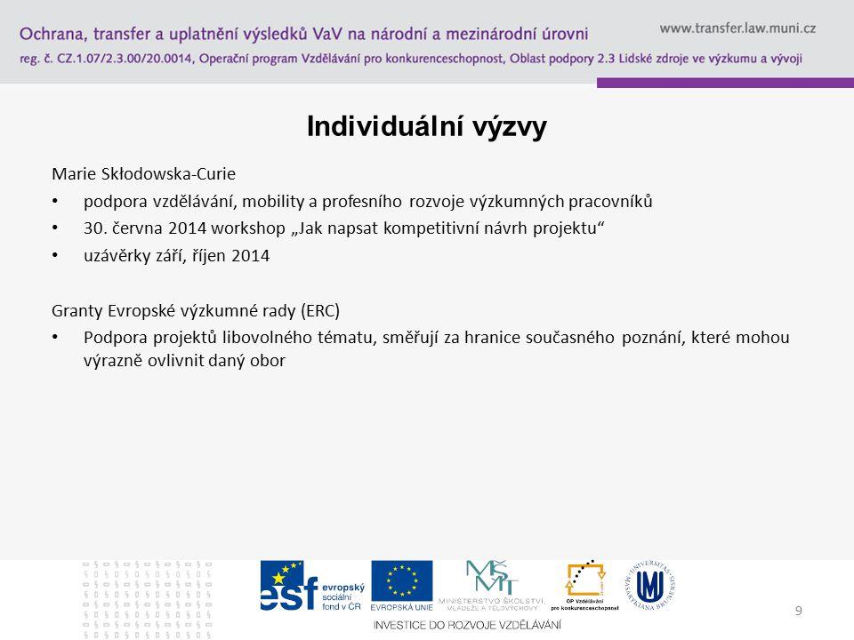 9 Individuální výzvy Marie Skłodowska-Curie podpora vzdělávání, mobility a profesního rozvoje výzkumných pracovníků 30.