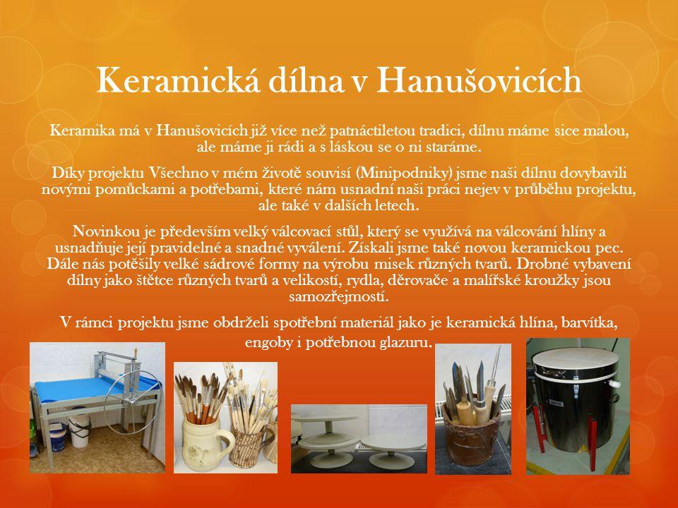 Keramická dílna v Hanušovicích Keramika má v Hanušovicích ji ž více ne ž patnáctiletou tradici, dílnu máme sice malou, ale máme ji rádi a s láskou se