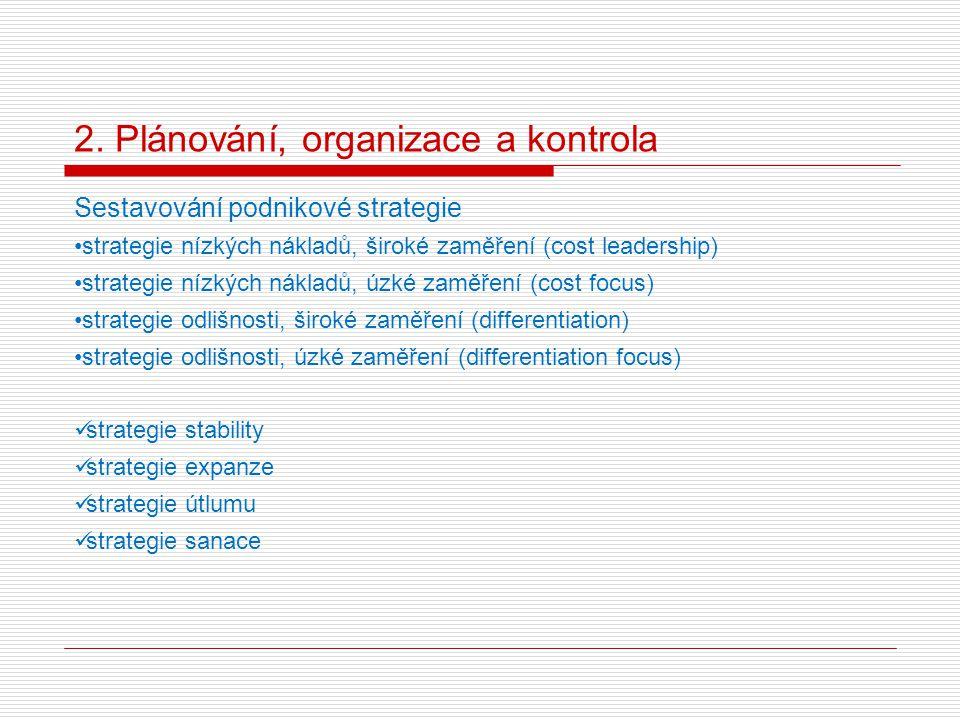 2. Plánování, organizace a kontrola Sestavování podnikové strategie strategie nízkých nákladů, široké zaměření (cost leadership) strategie nízkých nák