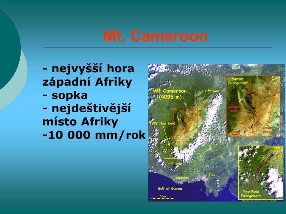 Mt. Cameroon - nejvyšší hora západní Afriky - sopka - nejdeštivější místo Afriky -10 000 mm/rok