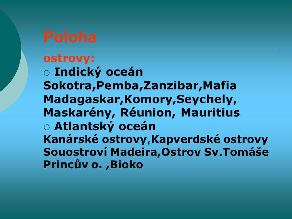 Poloha ostrovy:  Indický oceán Sokotra,Pemba,Zanzibar,Mafia Madagaskar,Komory,Seychely, Maskarény, Réunion, Mauritius  Atlantský oceán Kanárské ostrovy,Kapverdské ostrovy Souostroví Madeira,Ostrov Sv.Tomáše Princův o.,Bioko