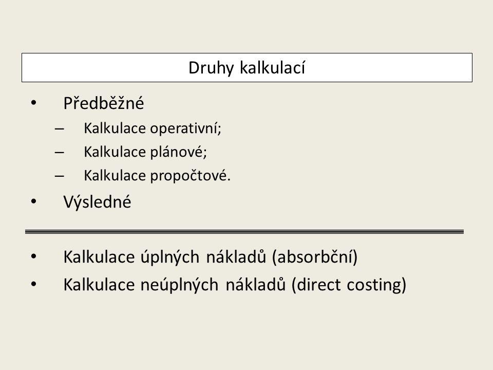 Předběžné – Kalkulace operativní; – Kalkulace plánové; – Kalkulace propočtové. Výsledné Kalkulace úplných nákladů (absorbční) Kalkulace neúplných nákl